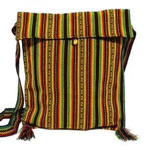 Large slim square-shaped purse bag with multicolored tribal print striped pattern material (or manta Inca) and fringe in Rasta colors.