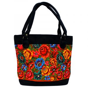 Handmade large tote purse bag with multicolored huipil embroidered floral designs and black vegan leather suede in dark orange color.