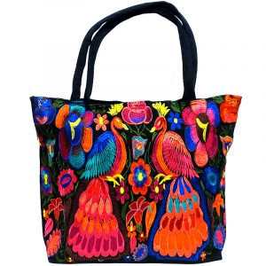Extra large tote purse bag with multicolored embroidered peacock and floral designs and black vegan leather suede.