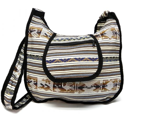 Handmade large crossbody messenger purse bag with tribal print striped pattern material (or manta Inca) and outer flap pocket in off white, navy blue, brown, beige, and black color combination.