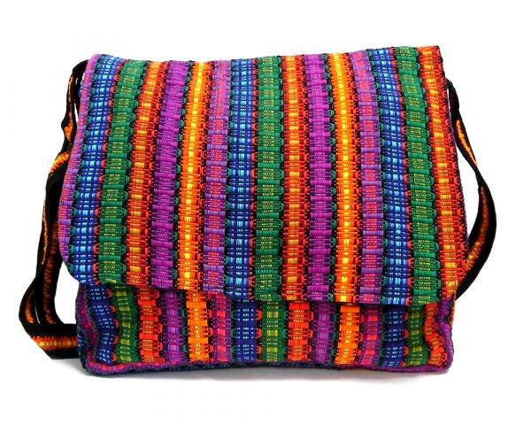 Handmade large cushioned woven cotton messenger bag with multicolored stripes and crossbody strap in multicolored color combination.