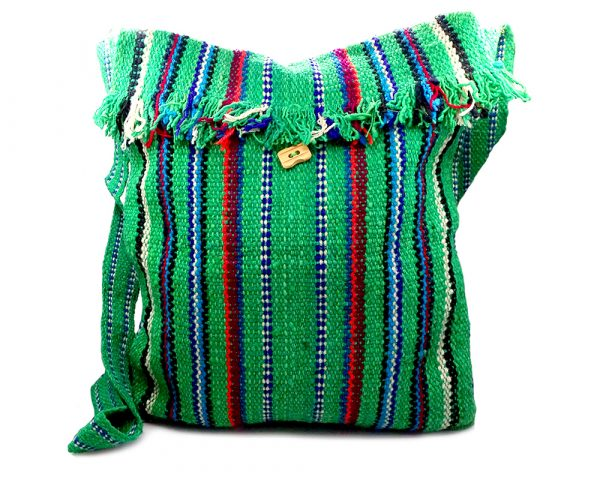 Handmade large square-shaped thick woven hemp messenger purse bag with multicolored striped pattern, fringe flap, and crossbody strap in green color.