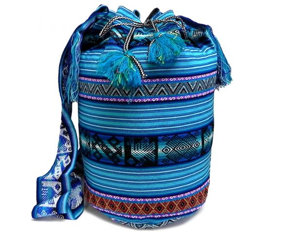 Handmade large crossbody bucket purse bag with multicolored tribal print striped pattern material (or manta Inca) in light blue, turquoise, purple, dark red, tan, black, and white color combination.
