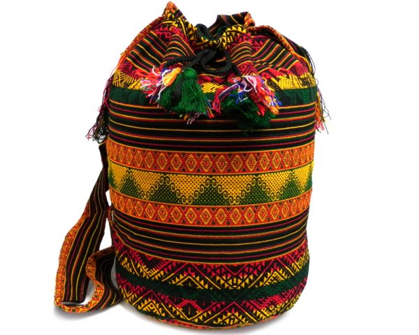 Large crossbody bucket purse bag with multicolored tribal print striped pattern material (or manta Inca) in Rasta colors.
