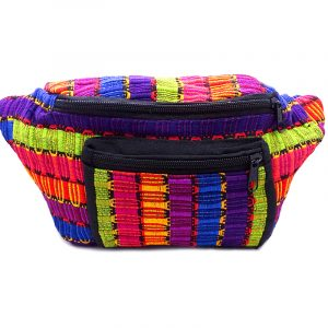 Large thick woven cotton fanny pack bag with multicolored stripes.