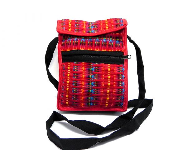 Handmade medium-sized cushioned woven cotton smartphone bag with multicolored stripes and strap in red color.