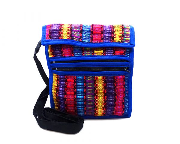 Handmade medium-sized cushioned woven cotton mini iPad or mini tablet bag with multicolored stripes and strap in blue.