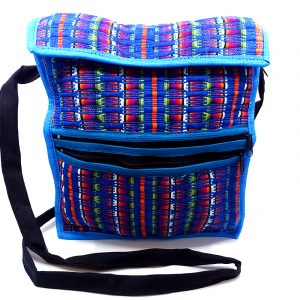 Handmade medium-sized cushioned woven cotton iPad or tablet bag with multicolored stripes and strap in turquoise.