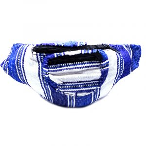 Handmade woven lightweight fanny pack bag with multicolored striped pattern in white, blue, and navy blue color combination.