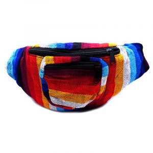 Handmade woven lightweight fanny pack bag with multicolored striped pattern in red, golden yellow, blue, turquoise, and white color combination.