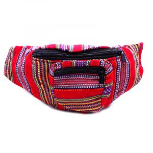 Handmade woven lightweight fanny pack bag with striped pattern in red and multicolored color combination.