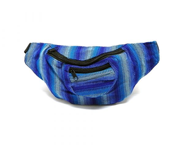 Handmade woven lightweight fanny pack bag with multicolored pixel striped pattern in blue, light blue, and turquoise color combination.