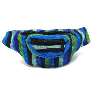 Handmade woven lightweight fanny pack bag with multicolored striped pattern in blue, lime green, turquoise, mint, and black color combination.