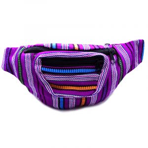 Handmade woven lightweight fanny pack bag with striped pattern in purple and multicolored color combination.