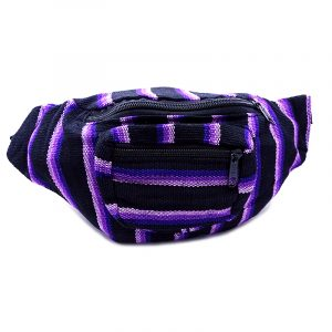Handmade woven lightweight fanny pack bag with multicolored striped pattern in black, lavender, and purple color combination.
