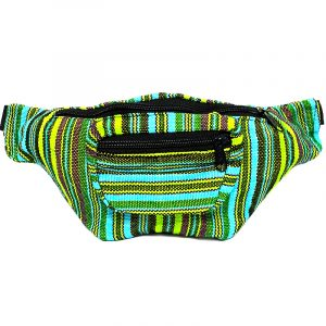 Handmade woven lightweight fanny pack bag with multicolored striped pattern in lime green, turquoise, and dark green color combination.