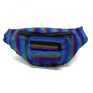 Handmade woven lightweight fanny pack bag with multicolored striped pattern in turquoise, blue, lime green, magenta, yellow, and black color combination.