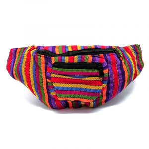 Handmade woven lightweight fanny pack bag with striped pattern in multicolored color combination.