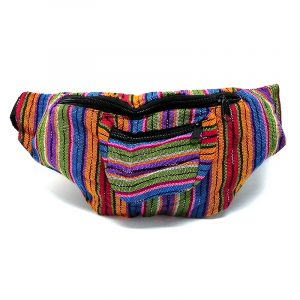 Handmade woven lightweight fanny pack bag with striped pattern in black, white, and warm-toned multicolored color combination.