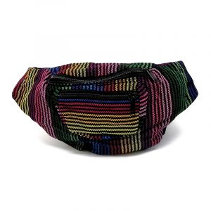 Handmade woven lightweight fanny pack bag with multicolored thin striped pattern in black and rainbow colors.