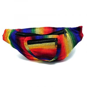 Handmade woven lightweight fanny pack bag with multicolored pixel striped pattern in rainbow colors.
