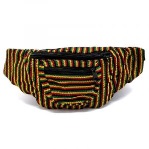 Handmade woven lightweight fanny pack bag with multicolored thin striped pattern in Rasta colors.