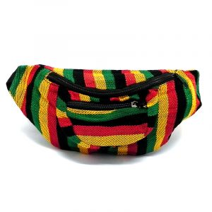 Handmade woven lightweight fanny pack bag with multicolored striped pattern in Rasta colors.