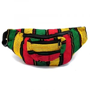 Handmade woven lightweight fanny pack bag with multicolored thick striped pattern in Rasta colors.