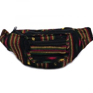 Handmade woven lightweight fanny pack bag with multicolored black stitch striped pattern in Rasta colors.