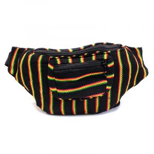 Handmade woven lightweight fanny pack bag with multicolored black thin striped pattern in Rasta colors.