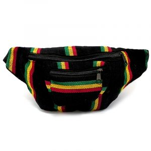 Handmade woven lightweight fanny pack bag with multicolored black striped pattern in Rasta colors.