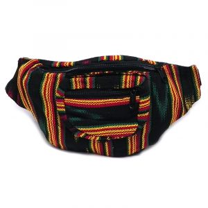 Handmade woven lightweight fanny pack bag with multicolored black multi striped pattern in Rasta colors.