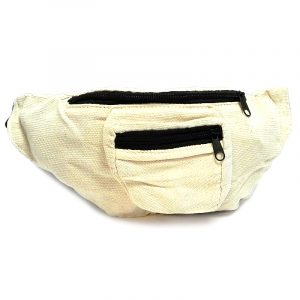 Handmade woven lightweight fanny pack bag in solid off-white color.