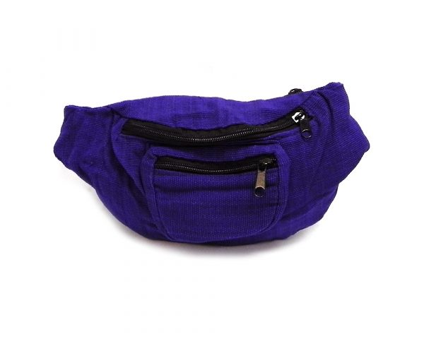 Handmade woven lightweight fanny pack bag in solid purple color.