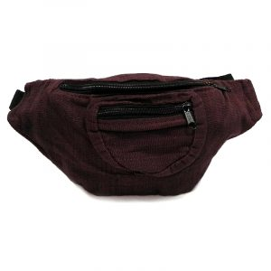 Handmade woven lightweight fanny pack bag in solid dark brown color.