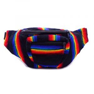 Handmade woven lightweight fanny pack bag with multicolored striped pattern in black and rainbow colors.