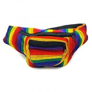 Handmade woven lightweight fanny pack bag with multicolored striped pattern in rainbow colors.