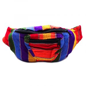 Handmade woven lightweight fanny pack bag with multicolored stitch striped pattern in rainbow colors.