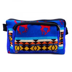 Rectangle-shaped fanny pack bag with Aztec inspired tribal print pattern and Southwest horse animal design in blue, red, and multicolored color combination.