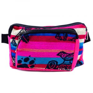 Rectangle-shaped fanny pack bag with Aztec inspired tribal print pattern and Southwest animal design in pink, turquoise blue, white, and black color combination.