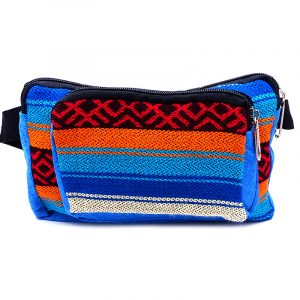 Rectangle-shaped fanny pack bag with Aztec inspired tribal print pattern in turquoise blue, orange, and red color combination.