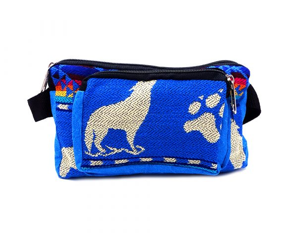 Rectangle-shaped fanny pack bag with Aztec inspired tribal print pattern and Southwest wolf animal design in turquoise blue, beige, and multicolored color combination.