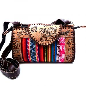 Handmade small Peruvian purse bag with authentic leather, acrylic wool, snap button and zipper closure, and adjustable strap in multicolored and brown.