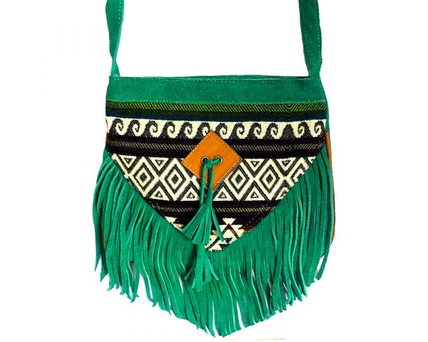 Handmade medium-sized authentic leather suede purse with multicolored Aztec inspired tribal print striped pattern and fringe in green color.
