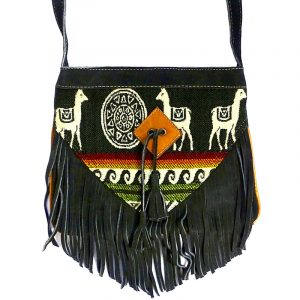 Handmade medium-sized authentic leather suede purse with multicolored Aztec inspired tribal print striped pattern, llama design, and fringe in olive green color.