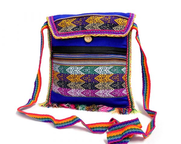 Handmade medium-sized slim square-shaped purse bag with multicolored tribal print pattern material (or manta Inca) and fringe in blue color.