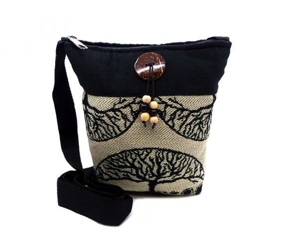 Medium-sized cushioned square-shaped purse bag with tree of life print pattern and coconut button and beads in beige and black color combination.