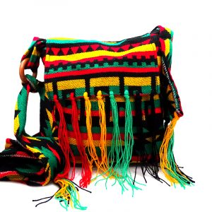 Medium-sized cushioned square-shaped purse bag with Aztec inspired tribal print pattern and fringe flap in Rasta colors.