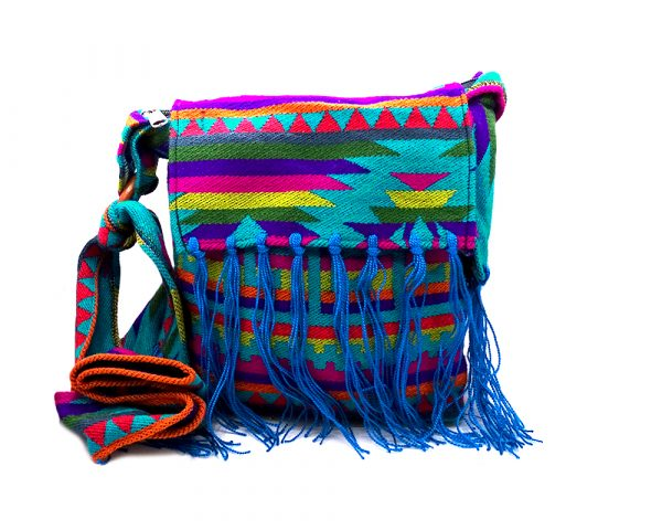 Medium-sized cushioned square-shaped purse bag with Aztec inspired tribal print pattern and fringe flap in teal, purple, lime green, and multicolored color combination.