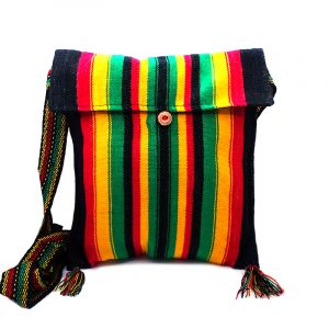 Medium-sized slim square-shaped purse bag with multicolored striped print pattern material and fringe in Rasta colors.